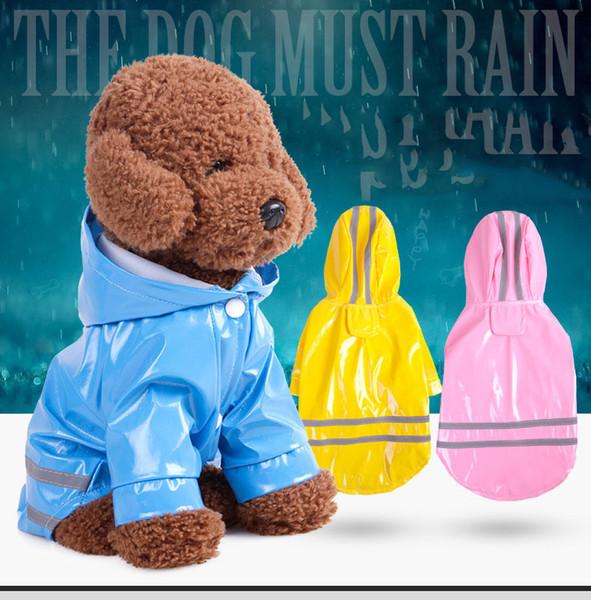 6 Color Hooded Pet Dog PU Reflection Raincoats Waterproof Clothe For Small Dogs Chihuahua Yorkie Dog Rain coat Poncho Puppy Rain Jacket S-XL