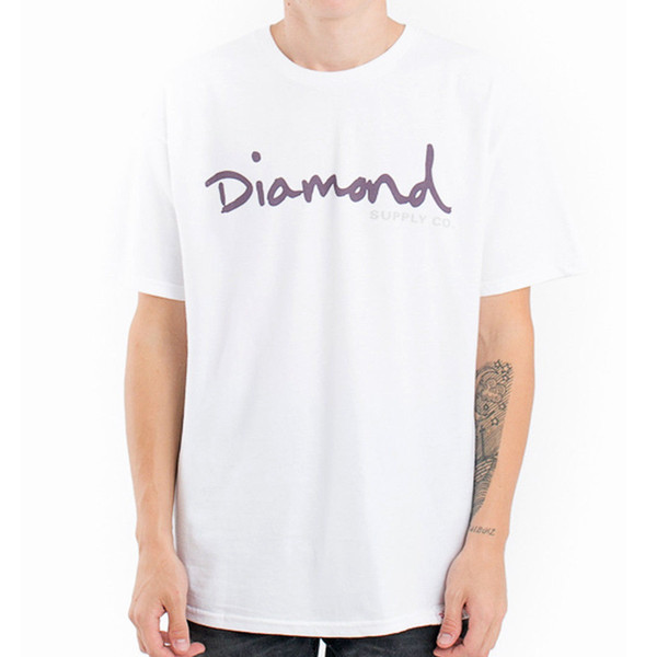 "Diamond Supply ""OG Script FA17"" Short Sleeve Tee (White) Men's Graphic T-Shirt New High Quality Top Tee Print T Shirt Summer Style"