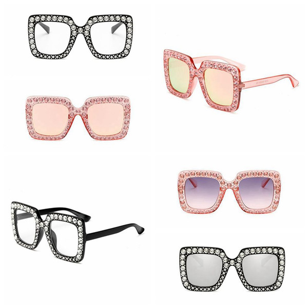Square Diamond Sunglasses Oversized Crystal Mirror Shade Sun Glasses Ocean Piece Sunglasses Women Square Glasses 10pcs OOA4672
