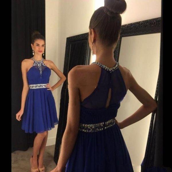 2018 Short Royal Blue Abiballkleider Neue preiswerter Halter wulstigen Strass einer Linie Chiffon- 8. Grad-Abschluss-Cocktailparty-Abschlussball-Kleider