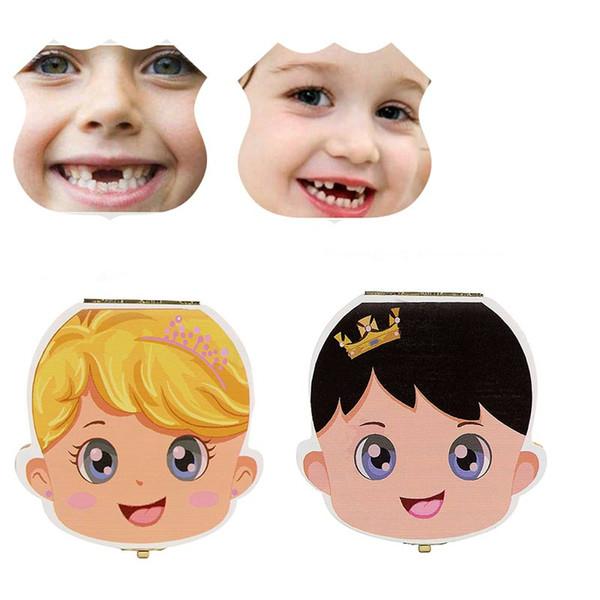 Colorato Legno babyTooth Box Organizer Salvare i denti del latte Stoccaggio di legno Raccogliere i denti Spagnolo / inglese / russo ombelicale