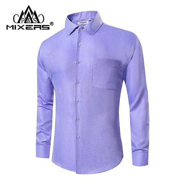 High Quality 2018 Purple Formal Dress Shirts Men Long Sleeve Men's Casual Shirt Office Work Shirt Men Clothes 2018