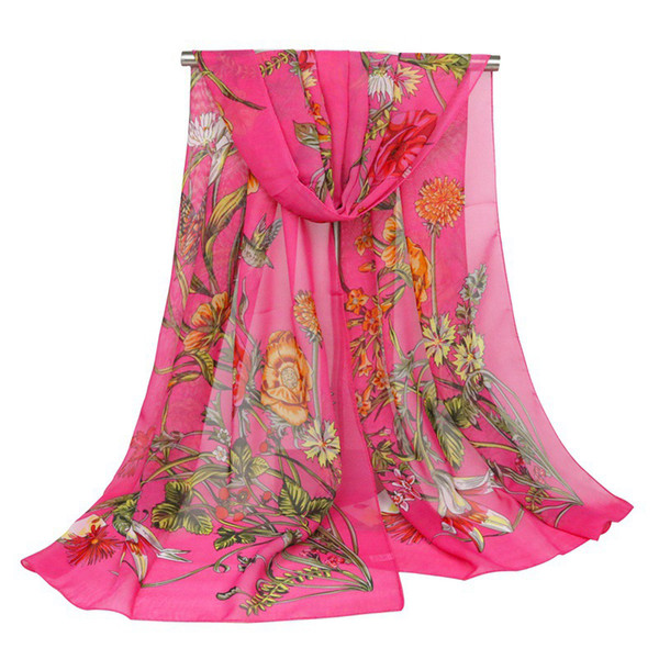 Wholesale 160cm*50cm 6 Designs Chiffon Floral Designer Scarf Women Hijab Shawls Pashmina Head Wrap Scarf Table Blanket Beach Towel
