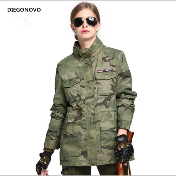 best selling New 2018 Pattern Bomber Tactical Jacket Women Autumn Casual Ladies Coat Army Fashion Camouflage Jacket Outerwear & Coats
