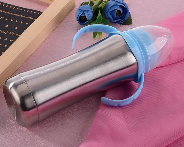Stainless Steel Nursing Bottle with food grade silicone Nipple Baby Milk Feeders Infant Bottles 8oz Kids Cups
