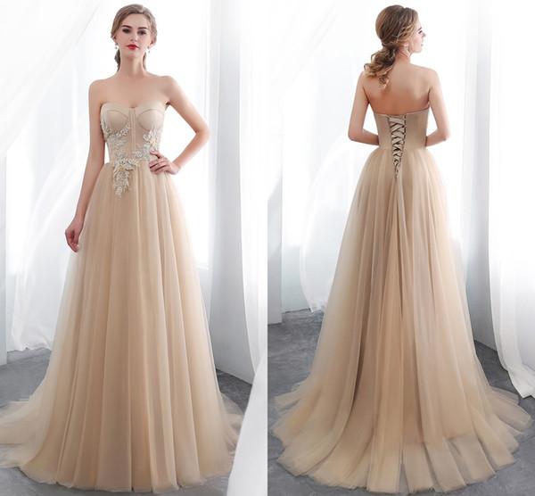 2019 Cheap Simple Champagne Evening Dresses Lace Plus Size Formal Dresses  Elegant Dress Evening Wear Abiti Cerimonia Abendkleider CPS1016 Evening ...