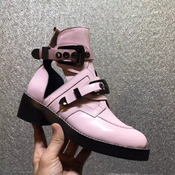 2018 2019 spring summer womens black white pink patent real leather Cut-Outs short booties Metal gold buckle strap Motorcycle biker boots