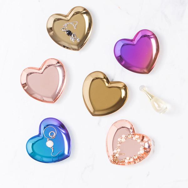 2pcs Mini modern heart Metal Storage Tray jewelry display organizer dish decorative plate for Dessert Fruit food home decor
