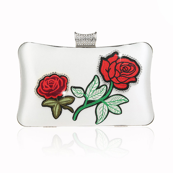 2018 New Embroidery Rose Flower Muti-color Bridal Wedding Day Clutch Elegant Women Vintage Diamond Evening Bags Handbags Purses