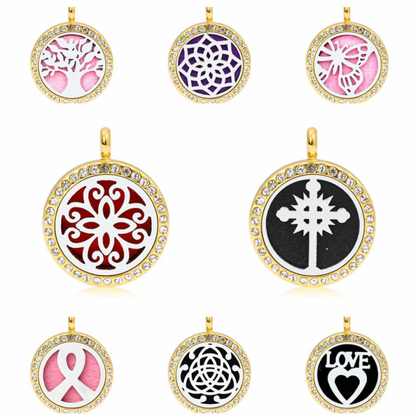 Flower Cross Ribbon Gold Color 25mm Crystal Magnetic Essentional oil Perfume Aromatherapy Diffuser Locket Pendant Jewelry Making 1pc Pad