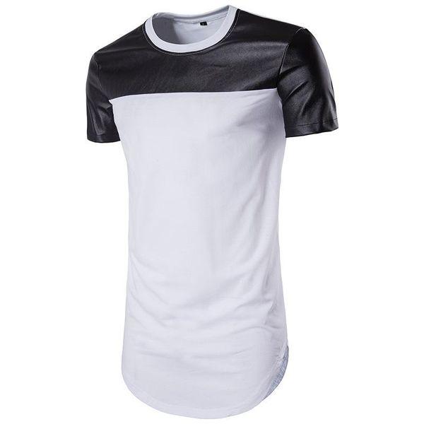 Men's summer round collar short sleeve circle arc pendulum solid color leather T-shirt self-fitting leisure fashion jacket half sleeve