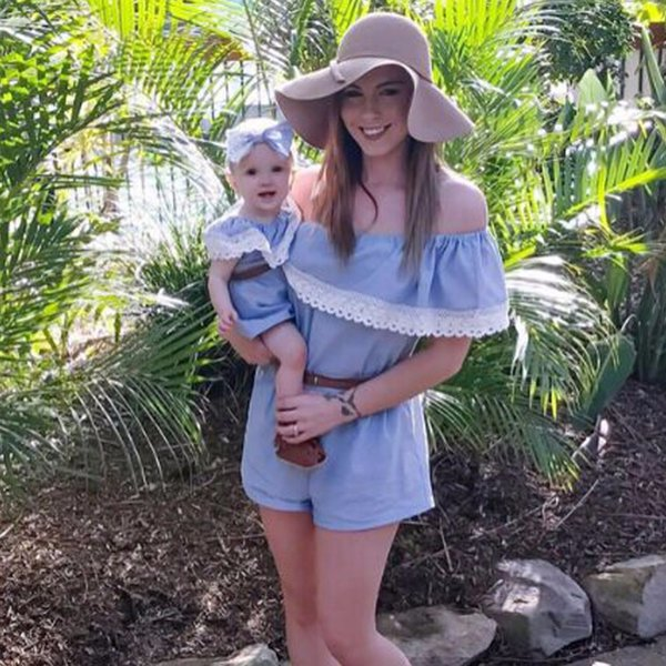 2018 Fashion Mommy and Me Family Matching Outfits Mother and Daughter Clothes Mom and Daughter Dress Family Look Baby Clothing