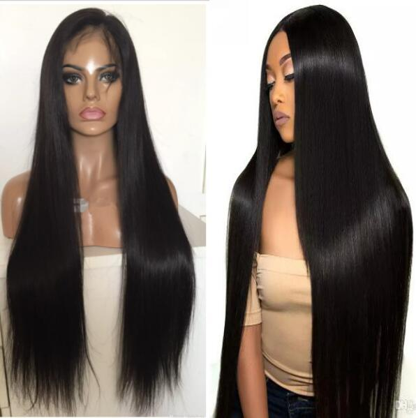 Full Lace with PU around Wigs Brazilian Human Hair Straight Hair Full Lace with Thin Skin Perimeter Wig for Black Woman Free Shipping