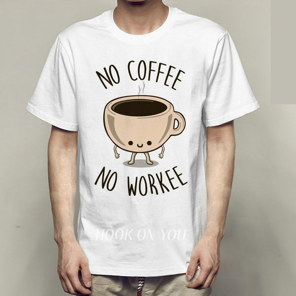 No coffee no workee t shirt Hard work short sleeve gown Worker tees Leisure clothing Quality modal Tshirt