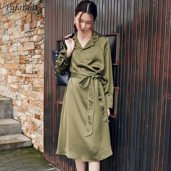New 2018 Autumn Women Single Breasted Long Trench Coat Green With Belt Turn Down Collar Casual Office Lady Business Outwear Fall