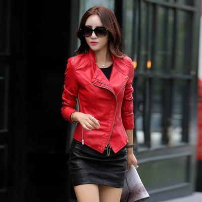 best selling Leather Jacket Women Jaqueta De Couro Women's Short Suede Faux Leather Motorcycle Biker Rose Red Black Coat Veste En Cuir Femme