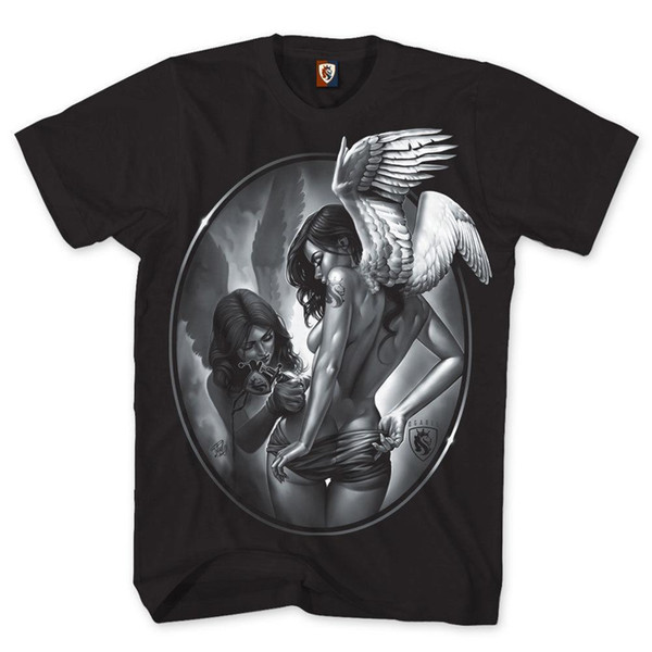 OG Abel OGABEL Tatin-Engels-T-Shirt der Männer schwarze Kunst-Tätowierungs-Tinten-Schädel-Kleidung Ein Mens 2018 Modemarke-T-Shirt O-Ansatz