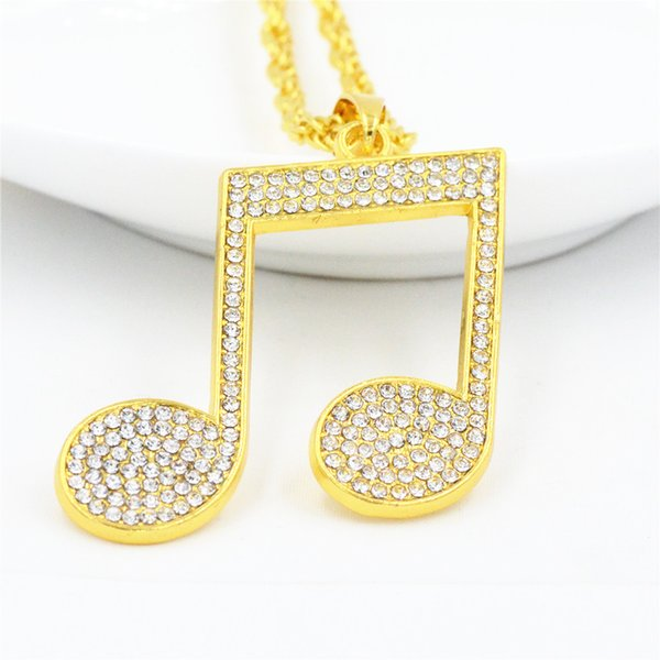 Steel stainless Rhinestone Rhythm Pendants Necklace Men Hiphop Music Note Long Chain Gold Color Alloy Sweater Necklace