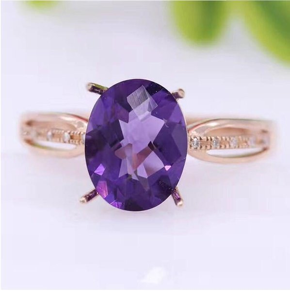 18K gold ring Natural Amethyst ring Real purple Amethyst ring Fine jewelry 7*9mm gem S923