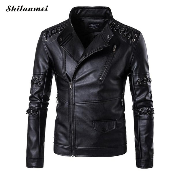 2017 Men New Fashion Brand-Clothing Mens Coats Leather Jacket Male Casual Punk Motorcycle Fitness Spring Autumn 4XL