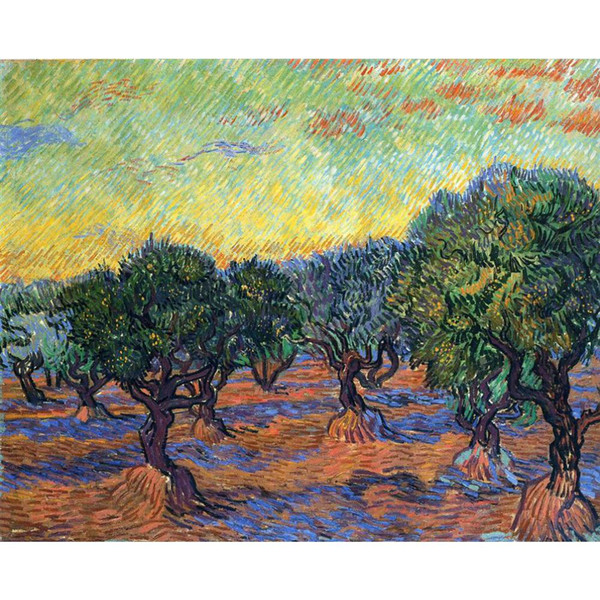 Best oil paintings Olive Grove - Orange Sky Vincent Van Gogh Hand painted Landscapes painting for room decor