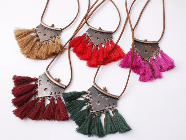New Bohemian Tassel Necklace Vintage Ethnic Wind Leather Rope Chain Necklace Fashion Fringed Pendant Choker Jewelry for Women Item Type: Nec