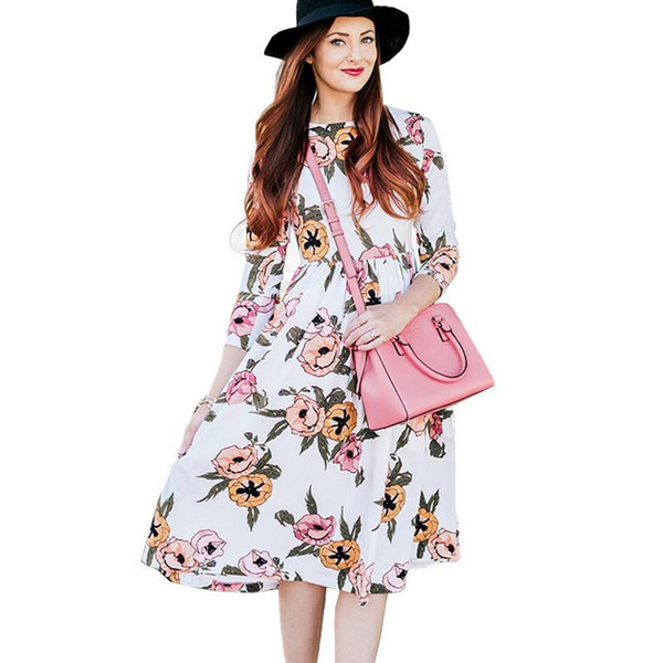 Winter Dresses For Womens With O-Neck Plus Size Casual Dresses Women Clothing Floral Print Vintage Long Sleeve Party Club Dress Clothes