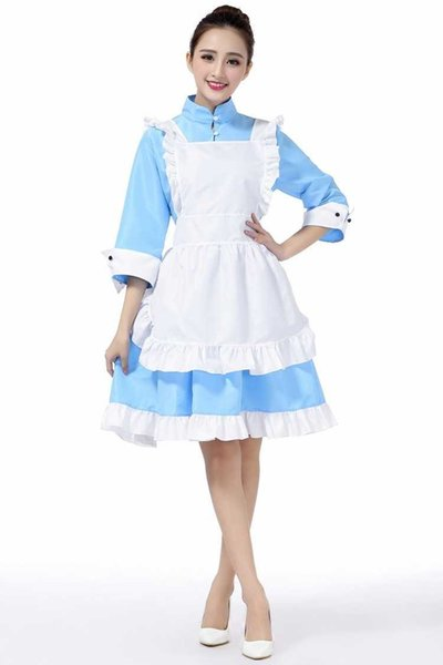 Free shipping new sexy lingerie cosplay blue maid halloween one-piece dress cute charming anime maid outfit maid outfit lingerie