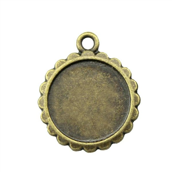 24 Pieces Cabochon Cameo Base Tray Bezel Blank Accessories Jewelry Simple Gear Single Side Inner Size 16mm Round Necklace Pendant Setting