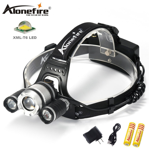 AloneFire HP35 XM-L T6 LED Headlamp 4-Mode Headlight Zoom Adjustable Flashlight Hunting Camping Head Torch by 18650 Battery