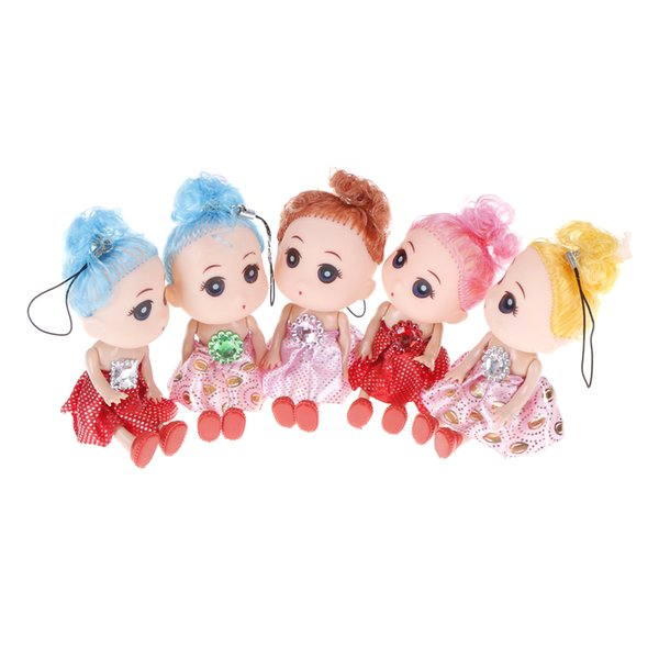 Random 2pcs/lot Girl Doll's Keychain Cute Crystal Dolls Women Bag Car Charm Pendant Toys For Kids Gift 10cm/12cm