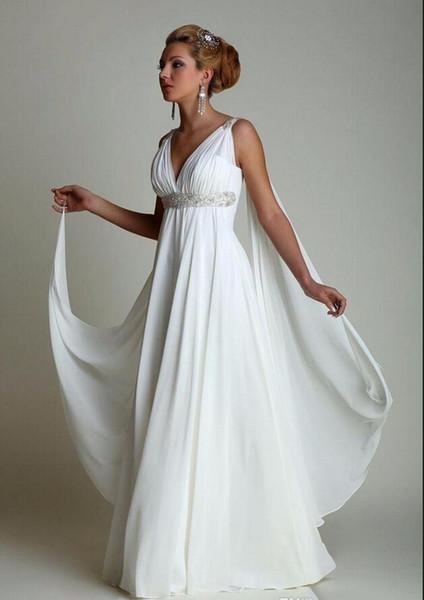 Бисером шифон богиня пляж свадебные платья 2017 с Watteau поезд Sexy V шеи плиссированные спинки свадебные платья на заказ