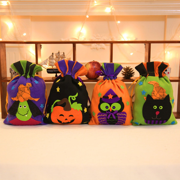 Flannel Candy Bag Halloween Bags Trick or Treat Bags with Pumpkin Owl Witch Decoration Halloween Sack Decoration