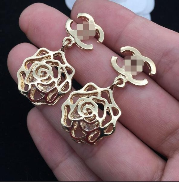 New fashion ladies alloy hollow flower letters earrings ear clips gift party accessories