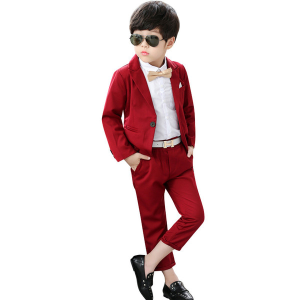 Custom men's red gentleman single button suit two-piece suit (jacket + pants) children handsome business formal suit dress