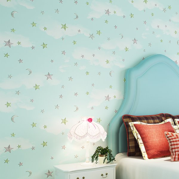 PAYSOTA 3D Cozy Children Room Wallpaper Stars Boys Girls Pink Blue Green  Bedroom Background Nonwoven Wall Paper Roll Horse Wallpaper House Wallpaper  ...