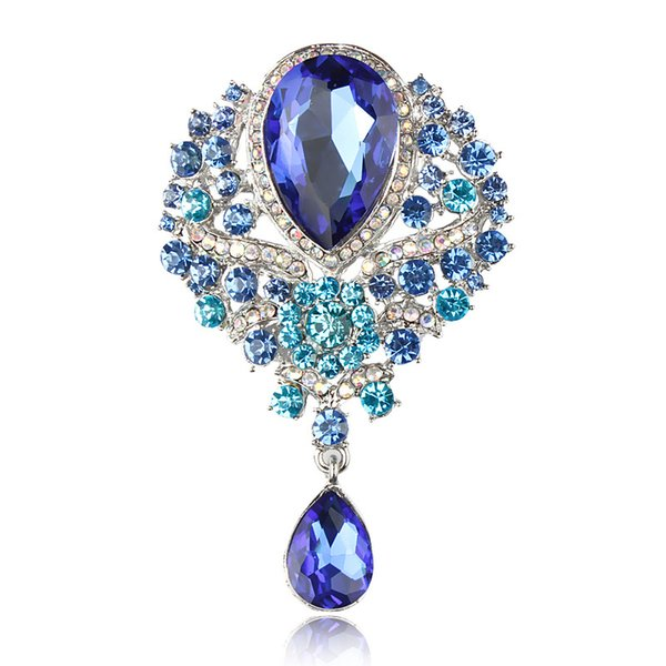 2018 MISANANRYNE Vintage Waterdrop Crown Brooch Rhinestone Crystal Women Bridal Wedding Brooch Pin Party Jewelry Mujer Bijoux Gift