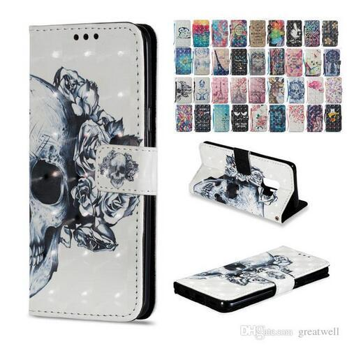 3D Owl butterfly flower Printed Wallet Flip Stand PU leather Case for iphone X XS Max XR Galaxy S9 Plus Note 8 9