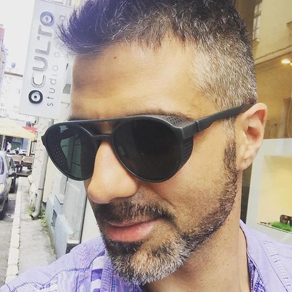 2018 nouvelle mode monture ronde lunettes de soleil Hommes Style Side Mesh évider lunettes de soleil Hommes Marque Designer Vintage Lunettes Lunettes