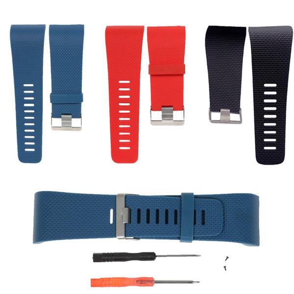 MASiKEN Bracelet de remplacement pour Fitbit Surge Bracelet de montre Smart Watch Bracelet en TPU Taille L avec outils Boucle en métal