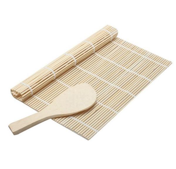 Bambú blanco Sushi Rolling Tool Set Mat Cuchara molde simple DIY Creativo Food Grade Scoop práctico alta calidad Factory Direct 1 7tt X