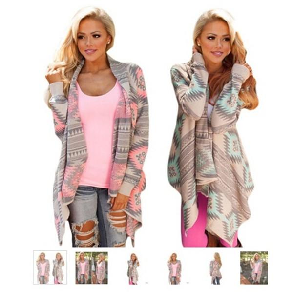 Womens Jacken Mantel unregelmäßige geometrische gedruckte Strickjacke vorne offen lose aztekische Pullover Pullover Outwear Tops DH113
