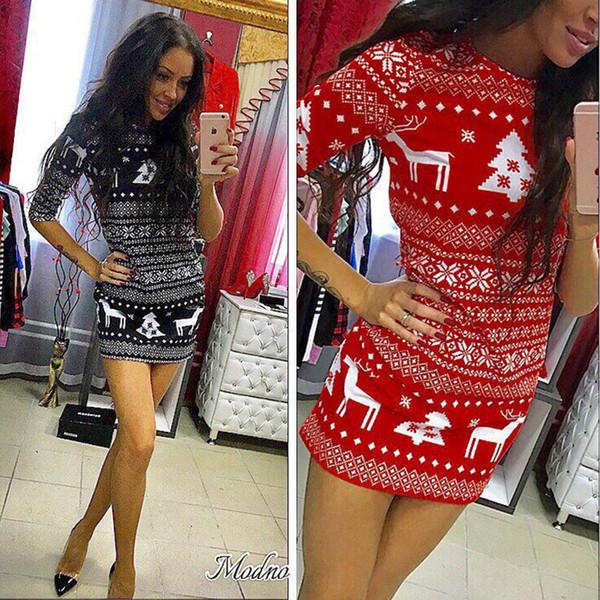 Gonna di Natale Slim maniche lunghe stampa dress dress cuciture stampa abbigliamento donna per 2 colori diversi