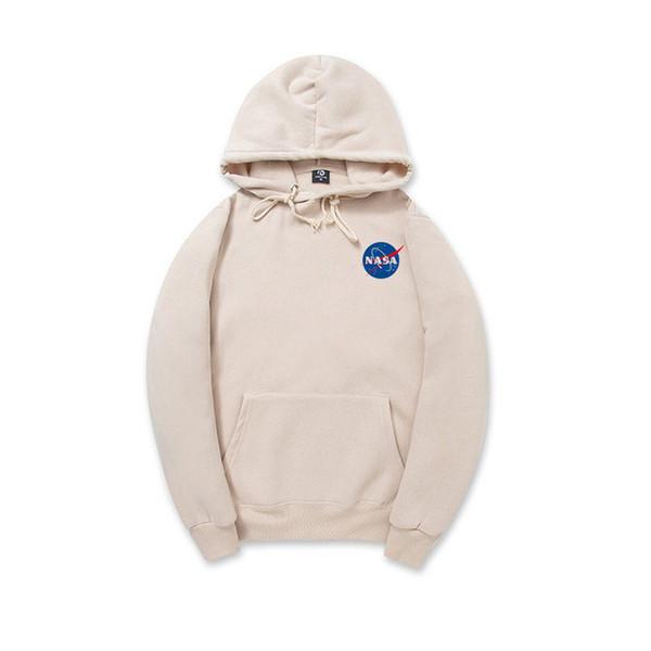 Felpa con cappuccio NASA 2018 Streetwear Hip Hop Cachi Nero grigio rosa bianco Hoody Hoody Mens Felpe con cappuccio Plus Size