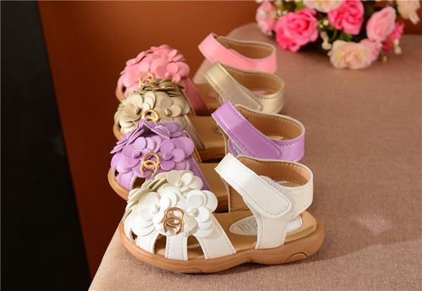 Girls sandals kids beach shoes frist walker Korean soft bottom flowers children's baby toddler shoes princess shoes XXP35