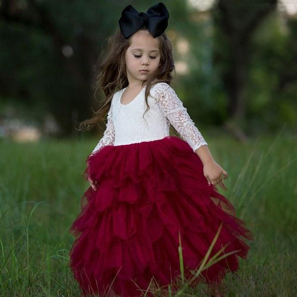 Personnalisé fait une ligne dentelle fleur filles robes bijou cou à manches longues à volants en tulle jupe première communion robe cheville longueur enfant vêtements de cérémonie
