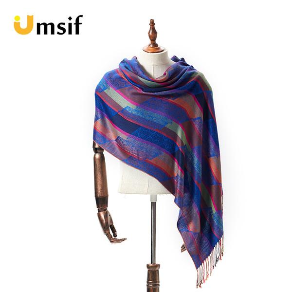 2018 women's fashion brand Cashmere silk scarf plaid scarfs for ladies Jacquard tassel long scarf female winter  warps