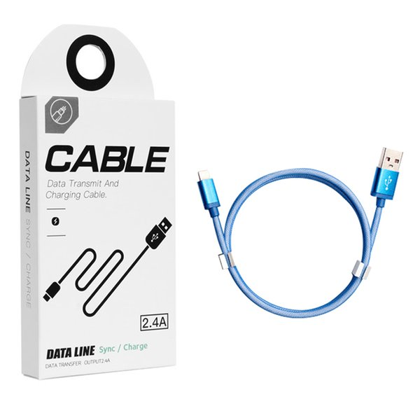 Fast Speed Type-C Micro USB Cable For iP 7 Samsung S9 1 Meter Data Sync Cable With Retail Box