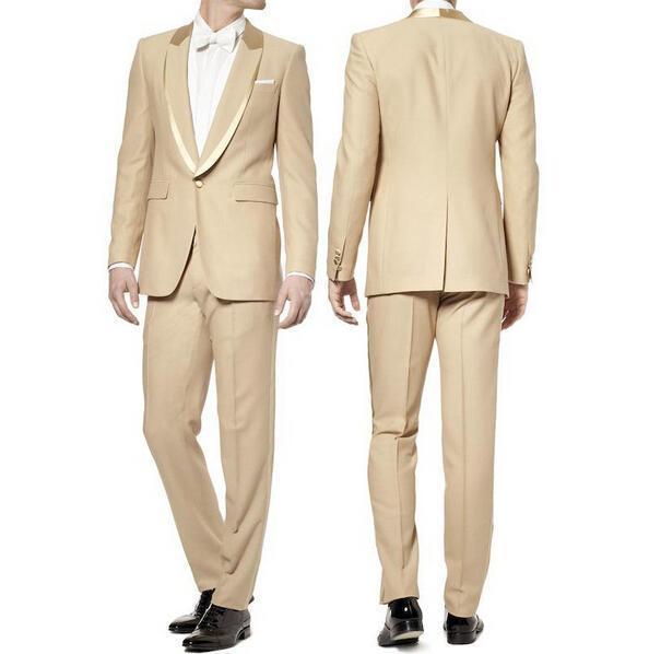 En İyi Tasarım Bej 2 Parça Suit Erkekler Düğün Smokin Handsime Damat Smokin Şal Yaka Merkezi Havalandırma Erkekler Blazer (Ceket + Pantolon + Kravat) 1306