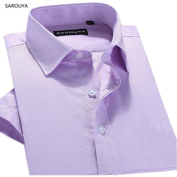 2017 New Summer Twill Men's Short Sleeve Dress Shirts White Black Violet Pink Purple Men Blouse Male China Chep Clothing Sarouya